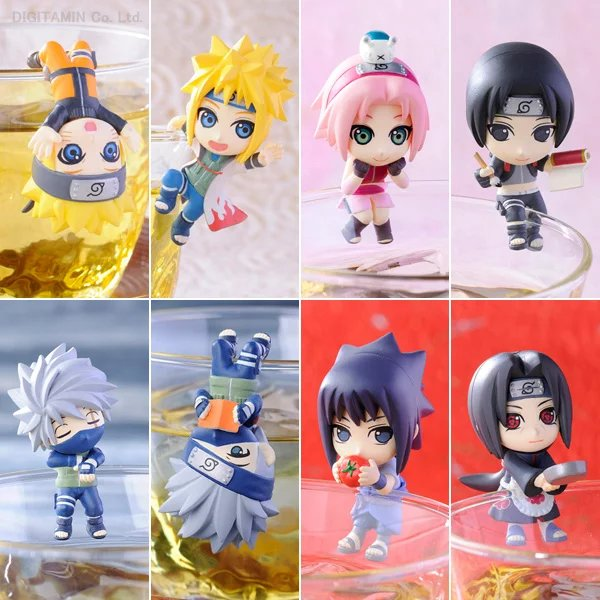 Naruto Shippuden Tea Cup Decorations 8pcs/set Naruto Sasuke Kakashi Sakura Minato Uchiha itachi Mini PVC Figures Toys 8cm new 27cm no base anime card captor sakura mini figures kinomoto sakura daidouji tomoyo pvc action figures toys cardcaptor