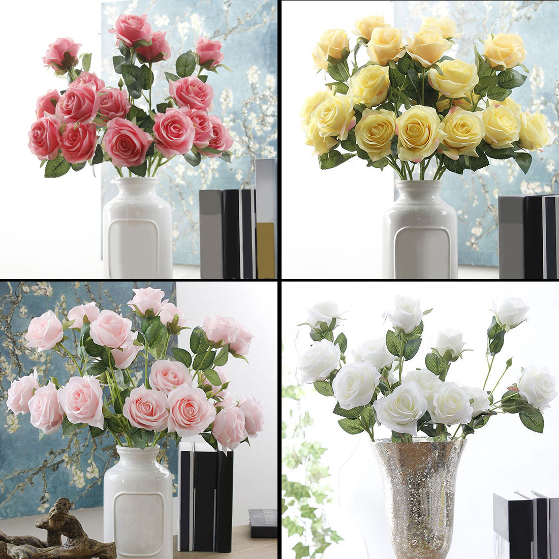 home decoration accessories 1 Bunch 3 heads silk French Rose Floral ...