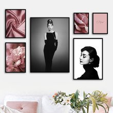 Audrey Hepburn Always Peach Blossom Salon Wall Art Canvas Painting Nordic Posters And Prints Wall Pictures For Living Room Decor(China)