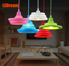 Minimalist art chandelier means personality folding droplight restaurant fruit supermarket children color silicone small light