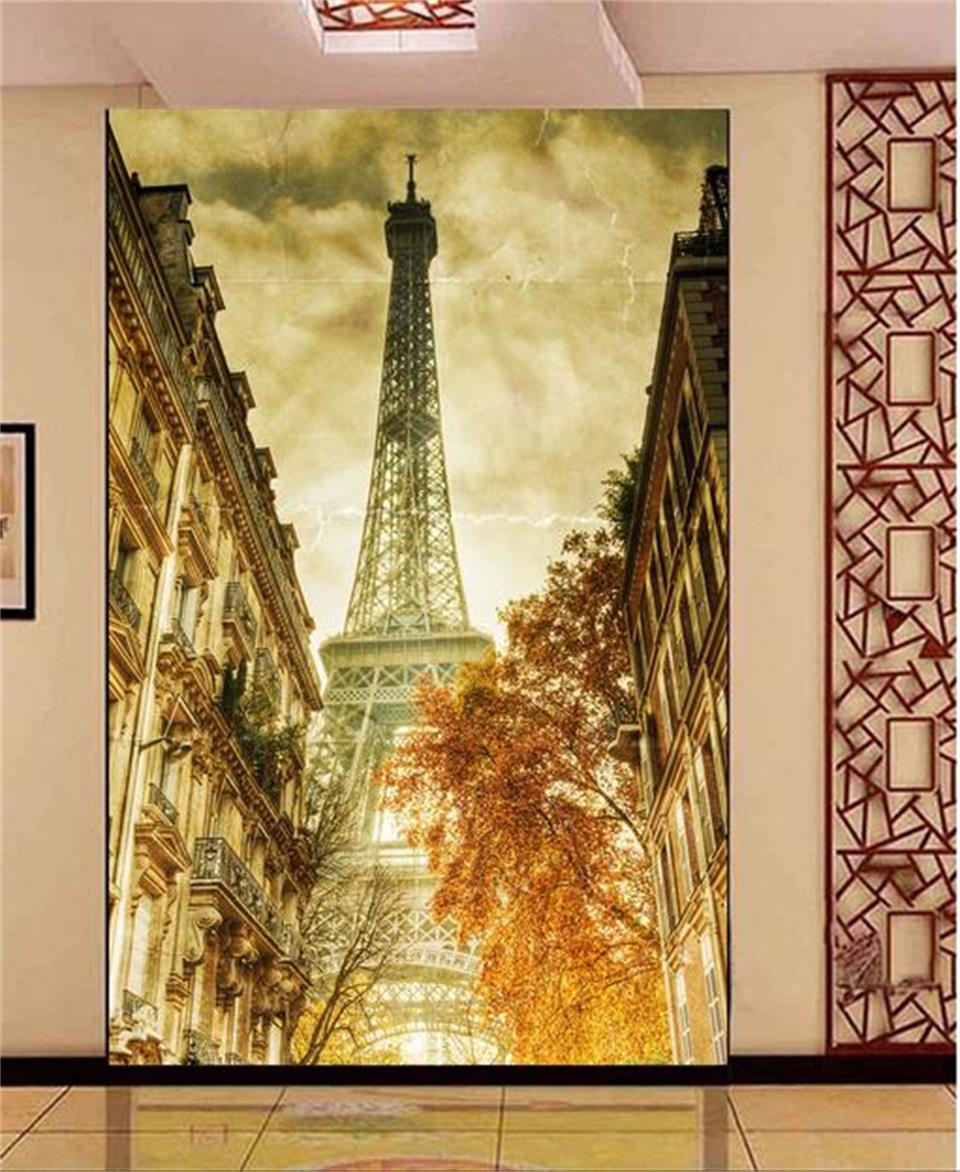 Custom 8D Papel mural wallpaper black and white Paris Eiffel Tower ...