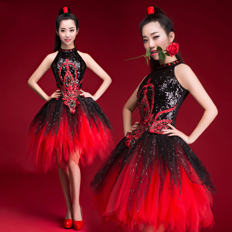New Jazz Dance Costumes Black And Red Sequins Tutu Skirt Female/Women Hip Hop Dance Opening Dance Performance Stage Wear DQL314