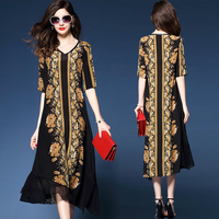 Summer Dresses 2019 new women Loose Vintage Casual Costume Imitate Real Silk Print Dresses Lady's Evening Party Dress