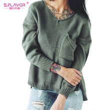 S.FLAVOR Autumn Winter Woman Long Sleeve Hollow out Split ends Back Sexy V- Neck 587b14e53