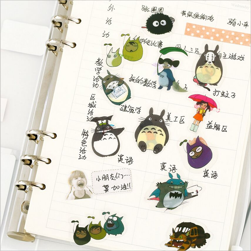 60Pcs/Pack Cute My Neighbor Totoro Decorative Sticker Set Diary Album Label Sticker DIY Scrapbook Stationery Stickers Escolar