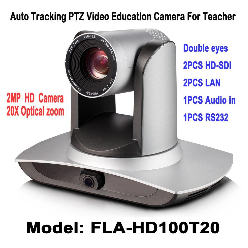 2MP Suivi Automatique PTZ Vidéo Audio L'éducation Caméra Double Lentille avec 2Ch HD SDI LAN RS232 Pour Panoramique Vidéo Professeur conférencier