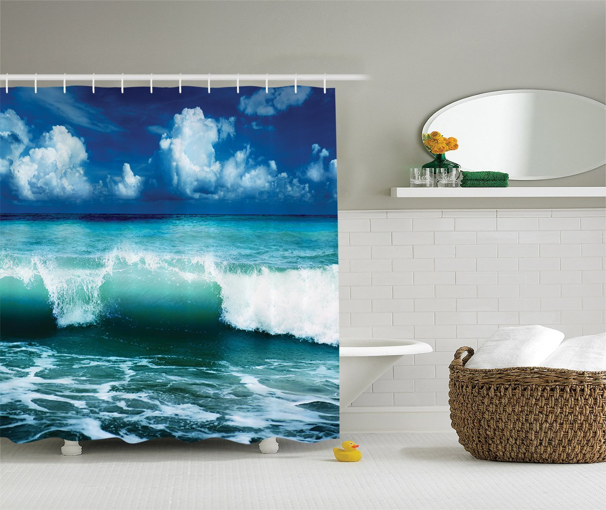 Us 14 17 38 Off Ocean Shower Curtain Surf Waves Caribbean Sea And Water Splash Picture For Surfers Theme Print Polyester Fabric Bathroom Set In