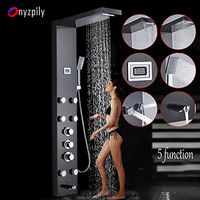 Onyzpily Матовый никель Термостатический душ башня ПАНЕЛЬ ТЕМПЕРАТУРА экран 5 функций, осадков и водопад душ