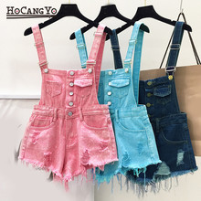HCYO Plus Size Rompers Womens Jumpsuit Casual Denim Overalls for Women Playsuits and Jumpsuits Hole Cotton
