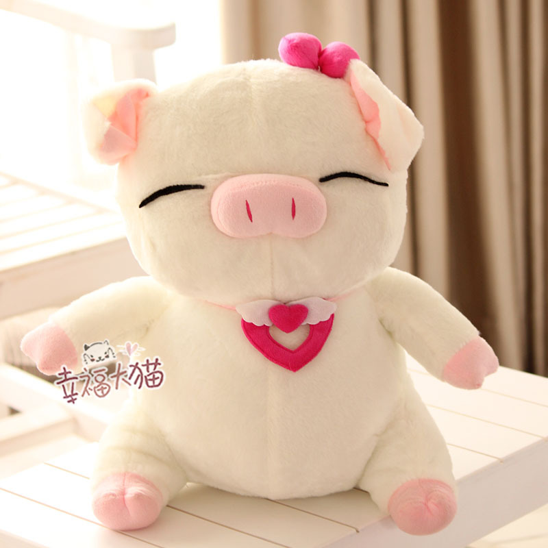 holiday sale 35cm cartoon lover bowknot sweet pig plush doll hold pillow stuffed toy birthday gift 1 pc a lot