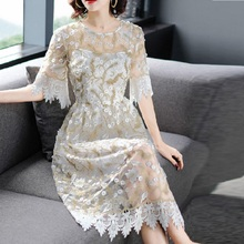 High Quality Sweet Embroidery Floral Lace Mesh Dresses Flare Sleeves Women OL Flowers Dress Chinese Style Party Ladies dresses