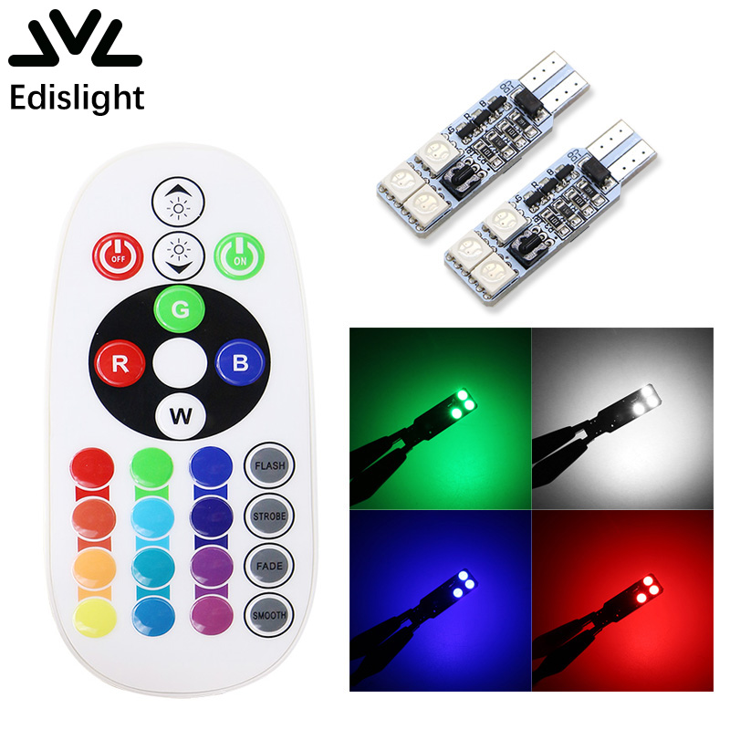 Edislight T10 194 168 12V RGB Multi Colors Changing LED Colorful Car Lamp Reading Dome Interior Light With Remote Control tiptop tp t08 big led co2 launcher food class co2 gas led colorful rgb changing anti false triggering insurance 8pcs aa battery