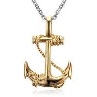 Mimeng Stainless Steel Choker Hop Anchor Pendant Necklace Men Charm Necklace Boy Friend Gift