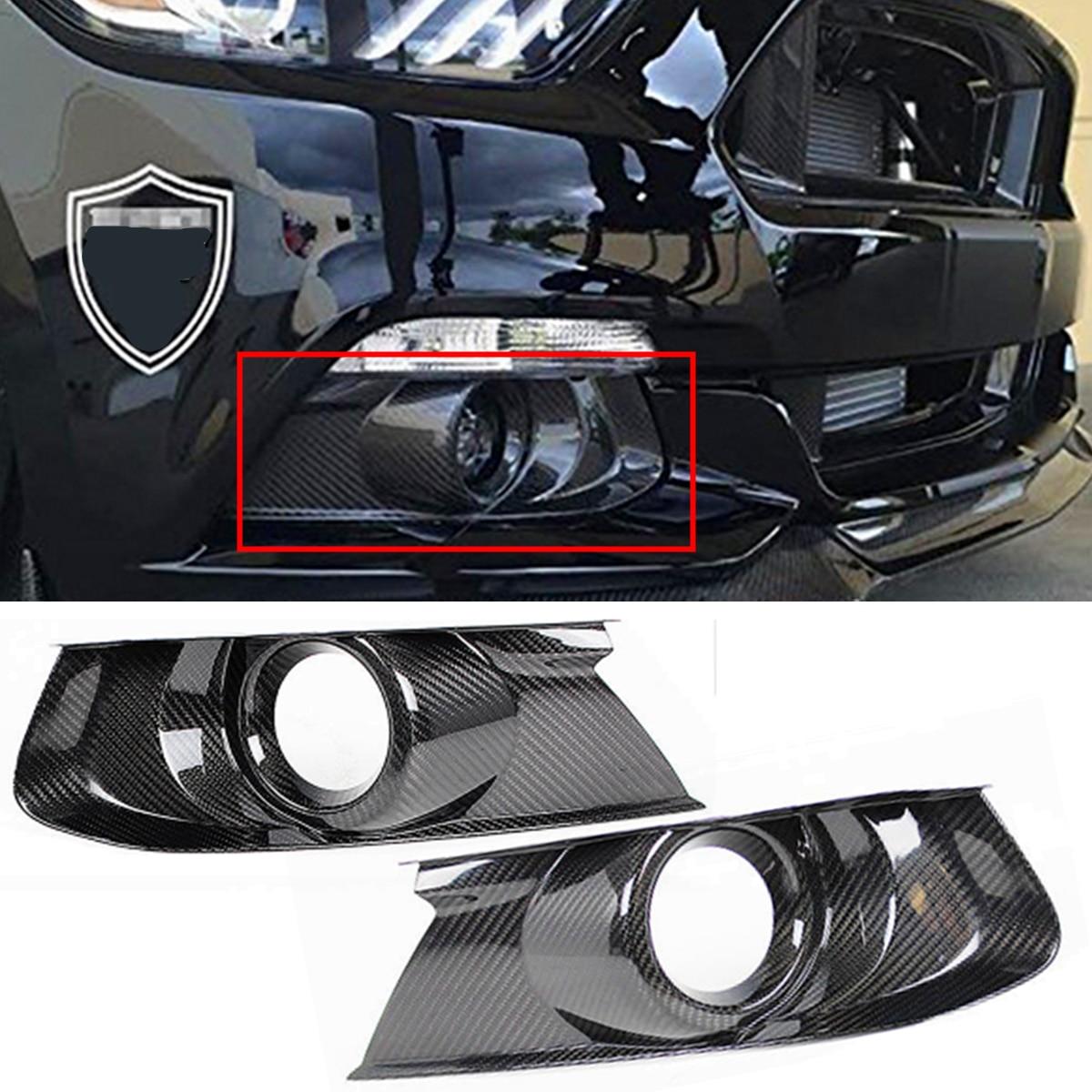 Высокое качество 1 пара Настоящее углеродного волокна передний задний бампер туман света лампы охватывает хвостовые планки для Ford Mustang 2015 ...