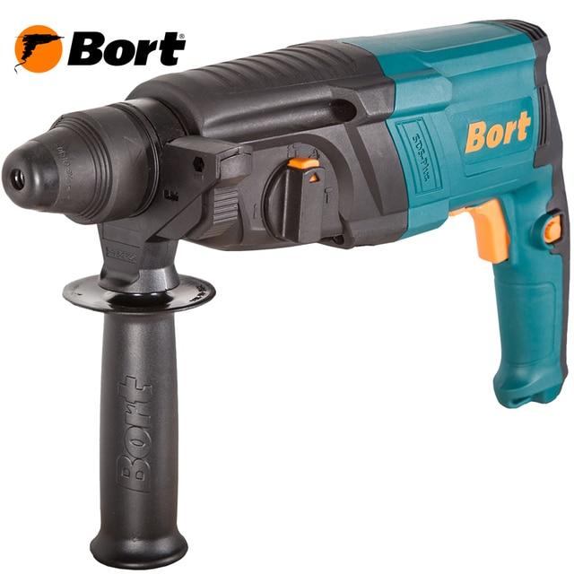 Перфоратор электрический Bort BHD-850X (Мощность 850 Вт, энергия удара 3.2 Дж, 3 режима: сверление/сверление с ударом/долбление, скорость вращения 1300 об/мин, частота ударов 5500 уд/мин, реверс)