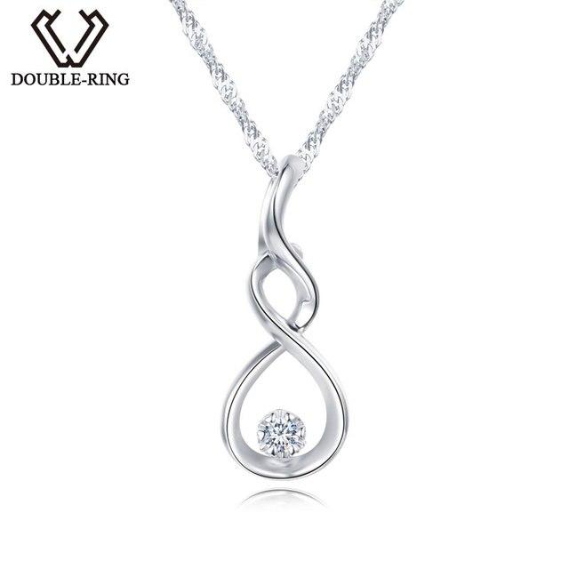 DOUBLE-R Mulheres Colar Pingentes de Diamante 0.03ct 925 Pingentes De Prata Esterlina Com Longas Cadeias de Jóias Com Diamantes CAP03755SA-1