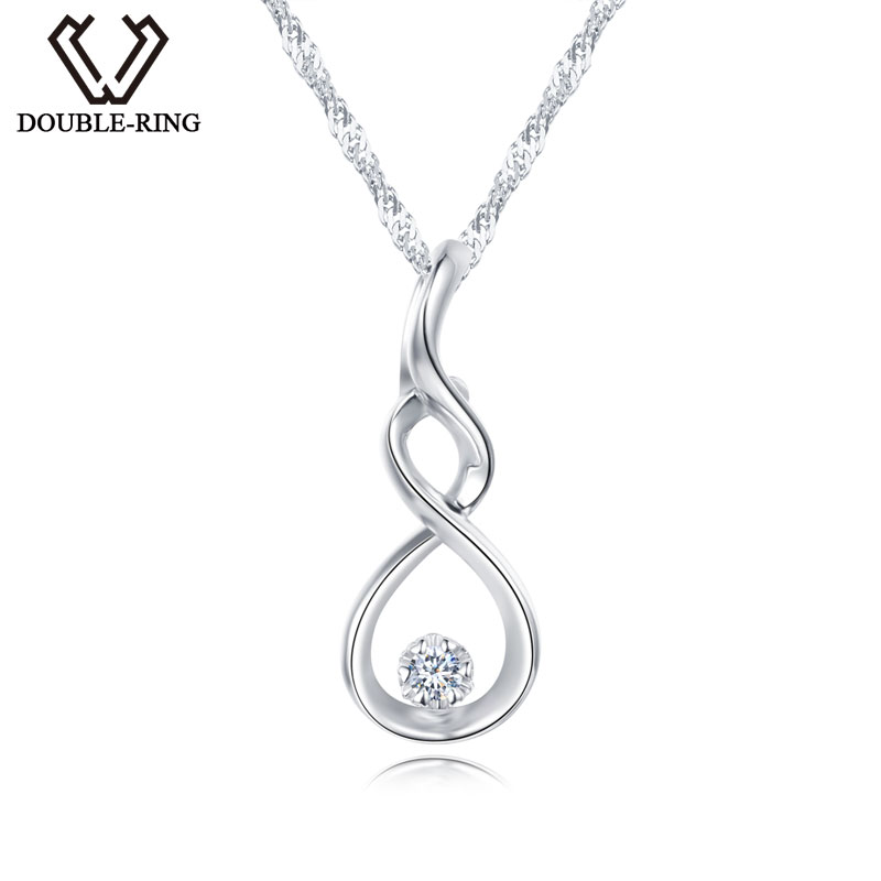 DOUBLE-R Women Necklace Pendants 0.03ct Diamond 925 Sterling Silver Pendants With Long Chains Diamond Jewelry CAP03755SA-1 double r women necklace pendants 0 03ct diamond 925 sterling silver pendants with long chains diamond jewelry cap03755sa 1