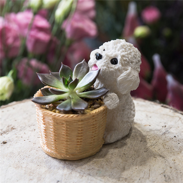Us 14 15 Indoor Tabletop Small Teddy Dog Cactus Succulents Resin Flower Pot Plants Planter Decorative Bonsai Home Garden Plants Container In Flower