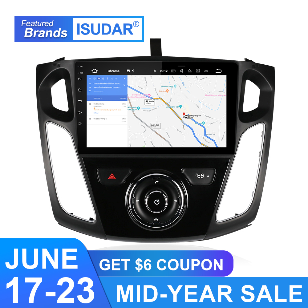 Isudar Car Multimedia player Android 9 GPS 1 Din Stereo System For Ford/Focus 3 2012-2014 DSP Radio FM Octa Cores 4GB RAM 4G