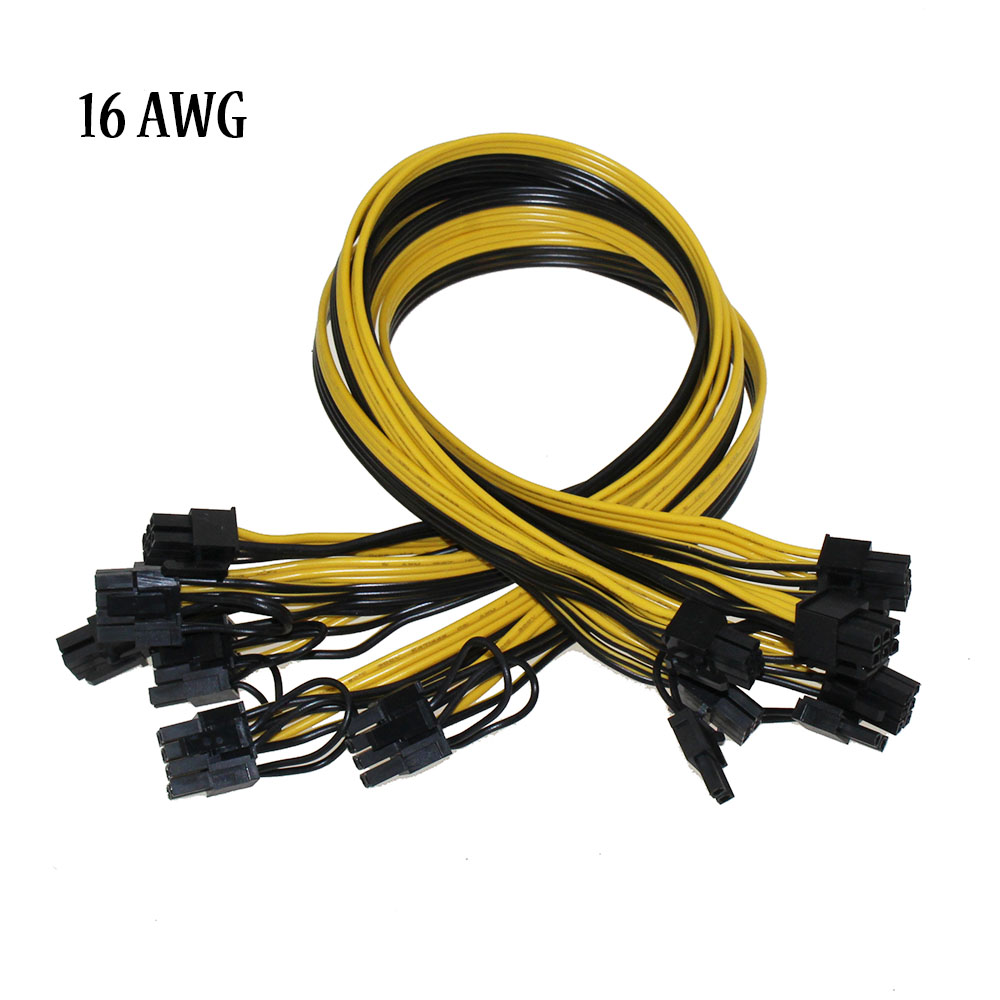 12Pcs PCIe 6Pin to 8-Pin 6+2Pin PCI Express Power Adapter Cable for Graphic
