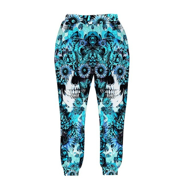 Crânios impressão dos homens/mulheres 3d rosas Girassol e borboleta impressão calça azul calças compridas corredores outono roupas