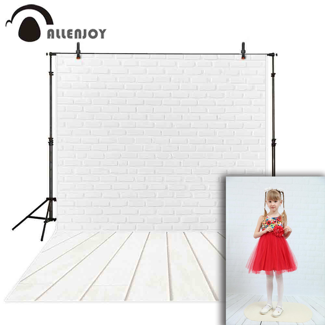 Allenjoy Photo background white brick wall wood floor indoor photographic Background for photo backdrop studio fabric photocall
