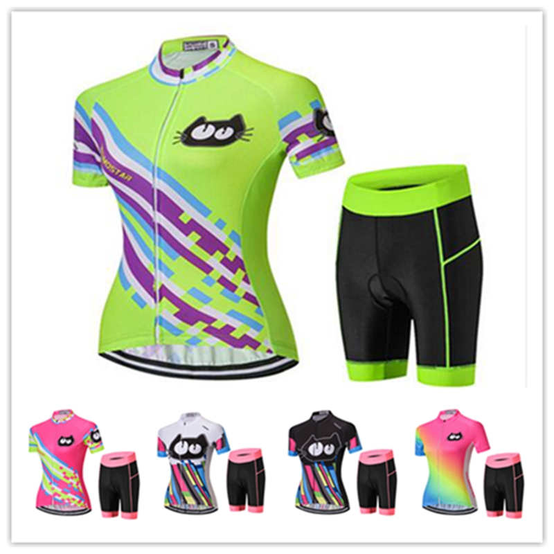 WEIMOSTAR 2018 Fluorescence Women Cycling Jersey Set Short Sleeve MTB Cycling Clothing Gel Pad Shorts Outdoor Bike Clothing new sunweb cycling jersey men set short sleeve team bike wear jersey set bib shorts gel pad cycling clothing kit 3 style mtb