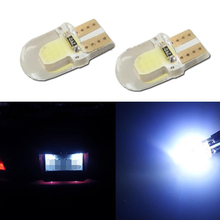 1x Auto LED T10 COB+Silicone shell Chips T10 led W5W Cold white/Crystal blue/Blue Canbus Car side wedge/License plate lamp bulb