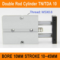 TN10 TDA Twin Spindle Air Cylinder Bore 10mm Stroke 10 45mm Dual Action Air Pneumatic Cylinders