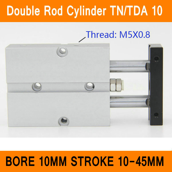 TN10 TDA Twin Spindle Air Cylinder Bore 10mm Stroke 10-45mm Dual Action Air Pneumatic Cylinders Double Action Pneumatic Parts tn25 tda twin spindle air cylinder bore 25mm stroke 10 45mm dual action air pneumatic cylinders double action pneumatic parts