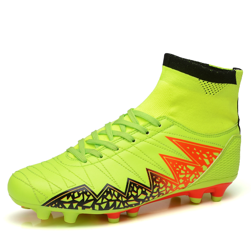 High Ankle Mens Green Blue FG/AG Professional Soles Cleats Outdoor Soccer Shoes HYPERVENOM ...