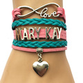 Drop Shipping Infinity Love Mary Kay Bracelet-Heart Charm Pink with Teal Leather Cosmetics Friendship Gift