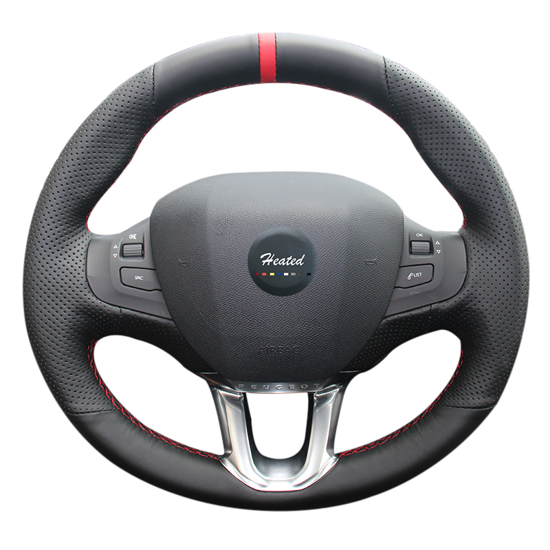 Heated Hand-Sewing Microfiber leather car wheel steering cover for Peugeot 308s car styling braid on the steering wheel
