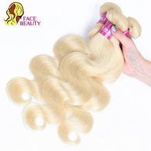 Tissage en lot naturel péruvien Body Wave-Facebeauty, cheveux Remy naturels, couleur blond 613, 8 à 30 pouces, peut être teint en lot de 1/3/4