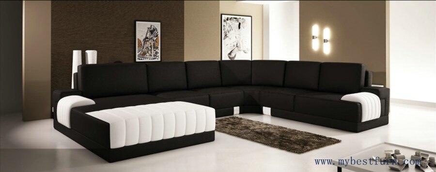 Extra Large Modern Sofa Set, Classic Black White Sofas Hot Sale Furniture  Top Grain Leather