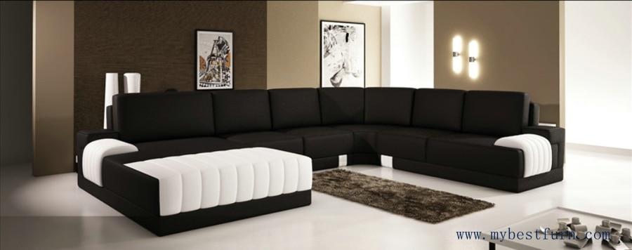 extra large modern sofa set classic black white sofas hot sale furniture top grain leather sofa set settee couches house sofa - Large Sofas