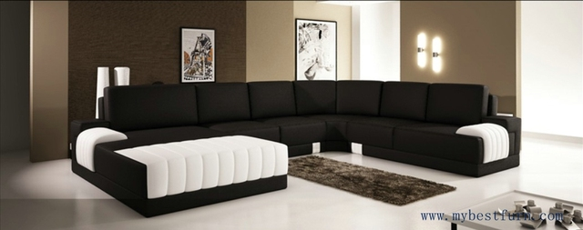 Extra Large Modern Sofa Set, Classic Black White Sofas Hot Sale Furniture  Top Grain Leather