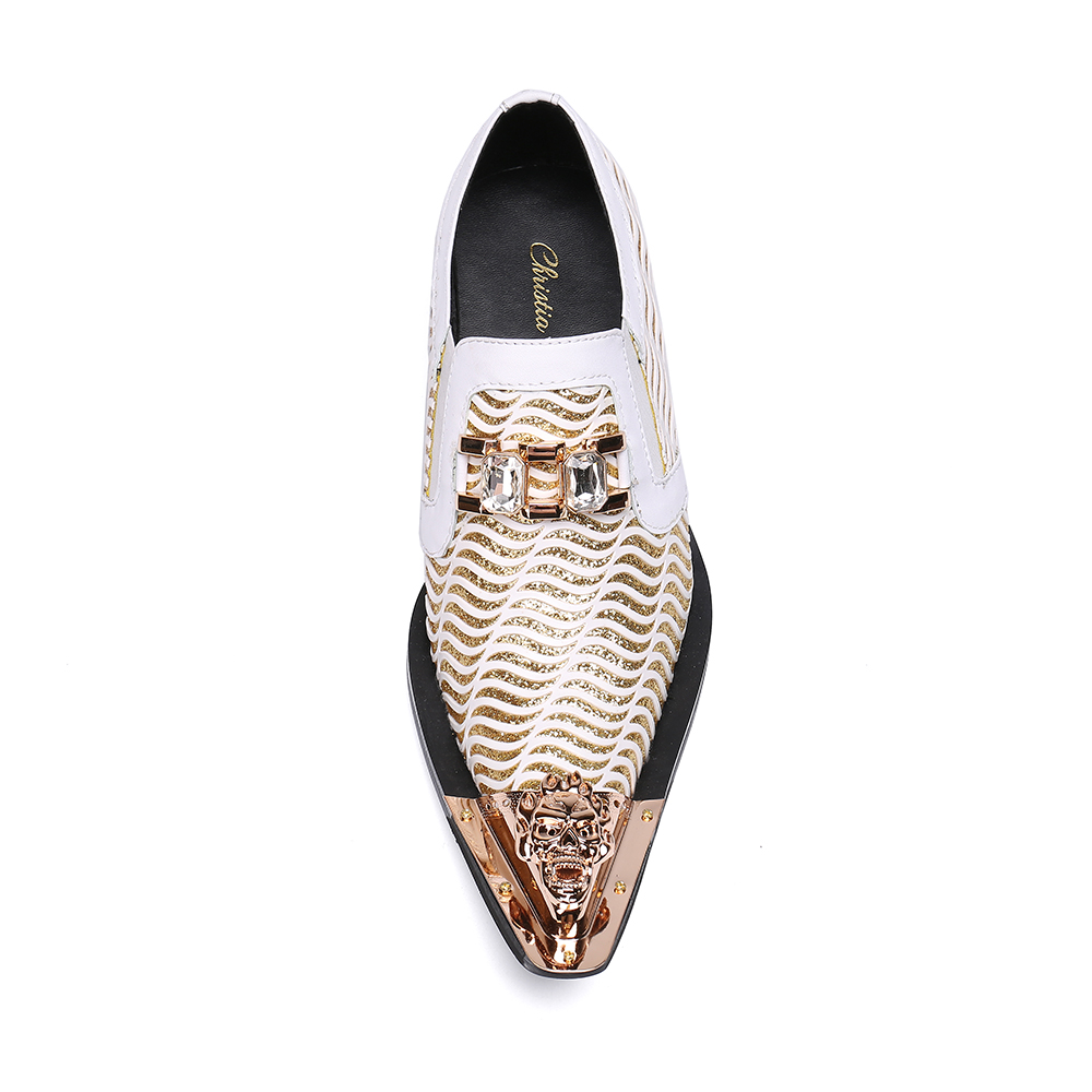 694cdb2a79 US $74.55 29% OFF|Christia Bella Fashion White Wedding Shoes Glitters Mens  Pointed Toe Bling Bling Casual Dress Shoes Luxury Brand Oxford Shoes-in ...