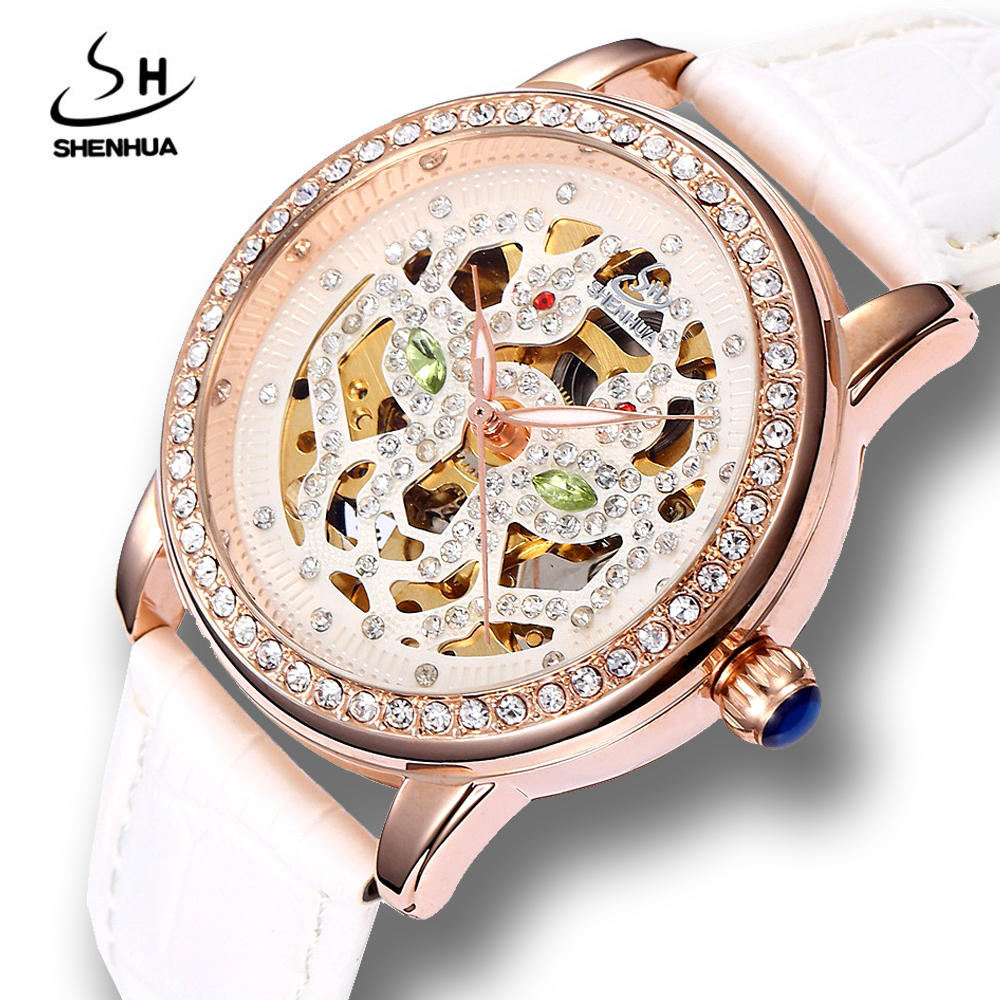 лучшая цена Shenhua Women Luxury Crystal Rose Gold Skeleton Mechanical Watches ladies Girls Automatic Self Winding PU Leather Wrist Watch