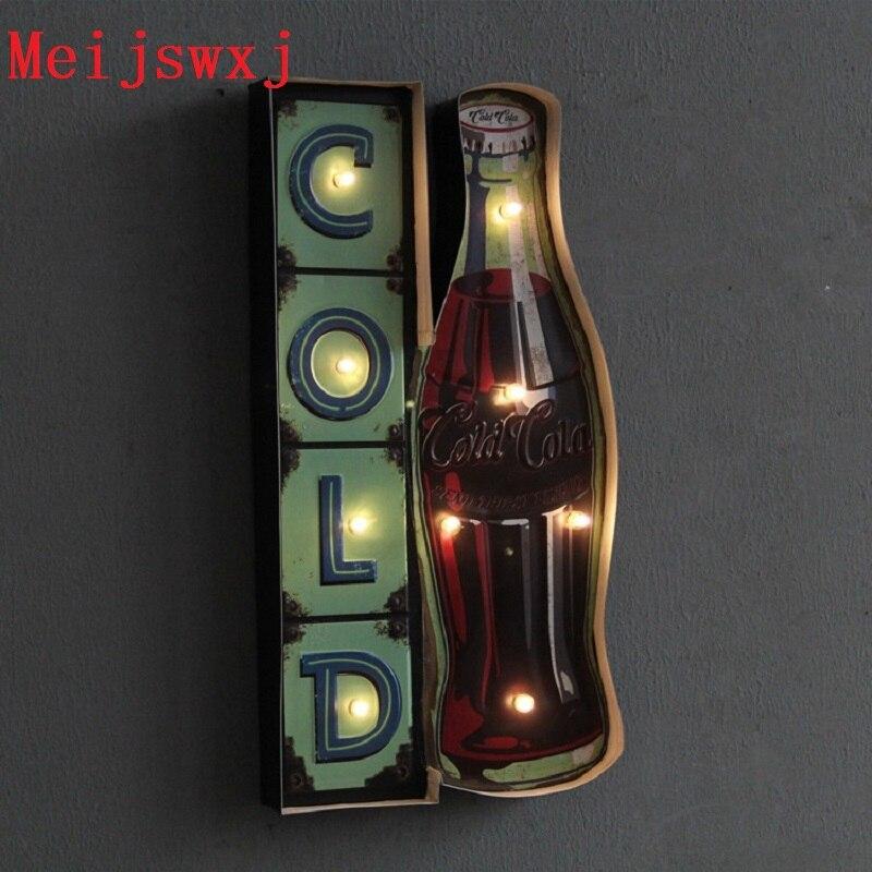 Meijswxj Vintage LED Neon Sign Coke Lightbox Shabby chic Placas decorativas de metal Coffee shop Bar