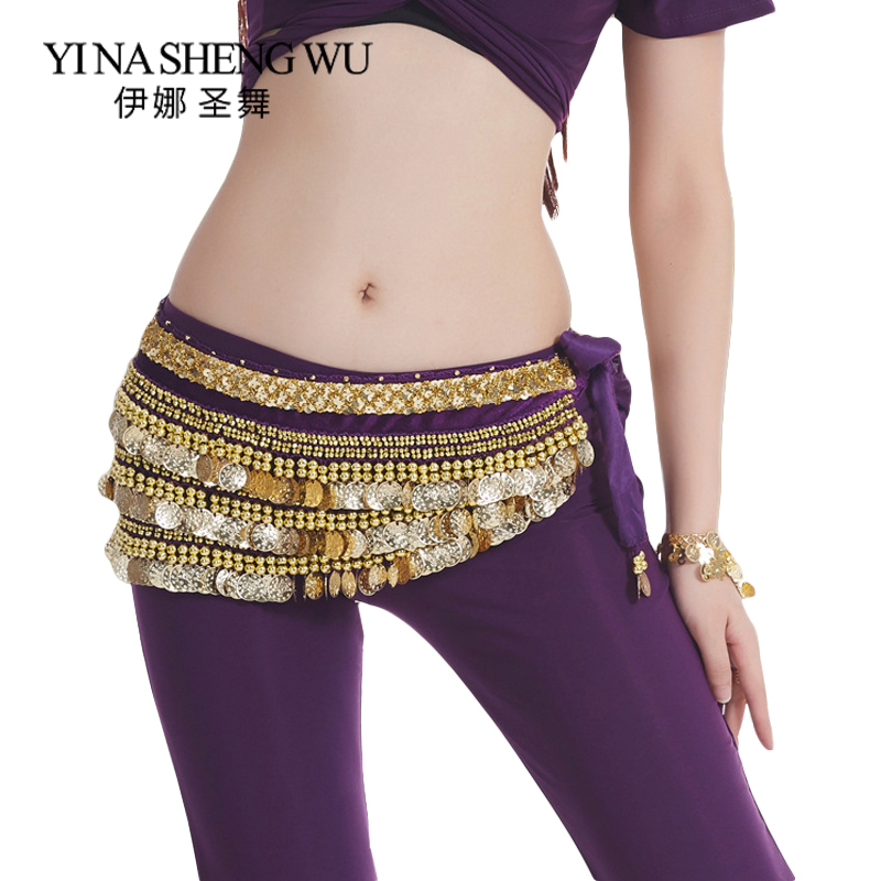 The New 338 Coins Belly Dance Belt Aggravated Oriental Belly Dance Accessories Belly Dance Waist Chain 13 Colors