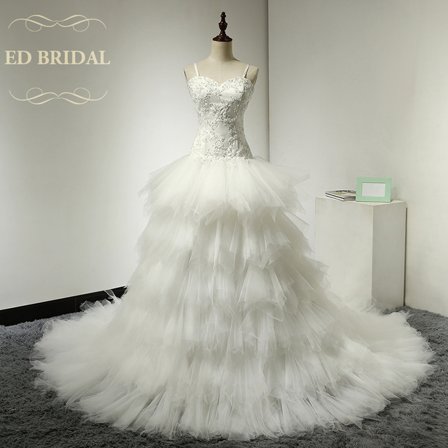 Dropped Waist Tulle Ruffle Wedding Dress With Beaded Lace Liques Spaghetti Straps Tiered Gowns Bridal