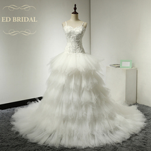 Dropped Waist Tulle Ruffle Wedding Dress with Beaded Lace Appliques Spaghetti Straps Tiered Wedding Gowns Bridal Dress