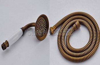 Antique Brass Telephone Style Bathroom Ceramics Hand Held Shower Head + 1.5m Hose lxz038 фото