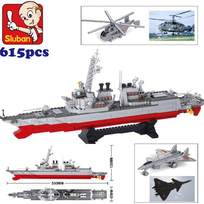 Sluban M38-B0390 Destroyer ship airplane Building blocks Flotilla enlighten bricks Compatible with enlighten building blocks navy frigate ship assembling building blocks military series blocks girls
