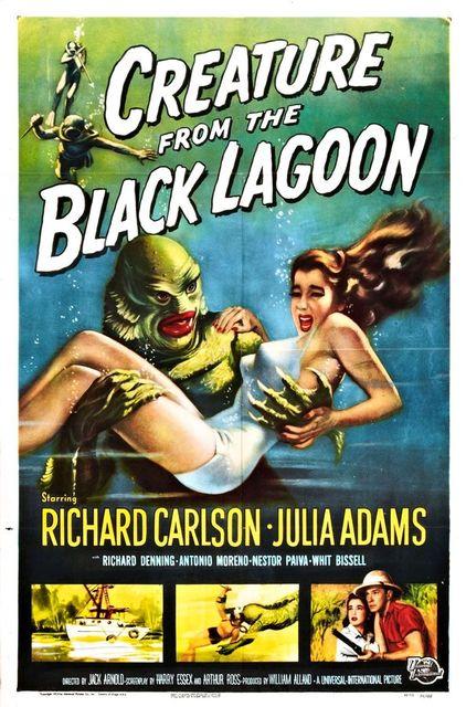 Beauty Creature from the Black Lagoon (1954) Sci-Fi Movie Film Retro Vintage Kraft Poster Canvas Wall Sticker Home Decor