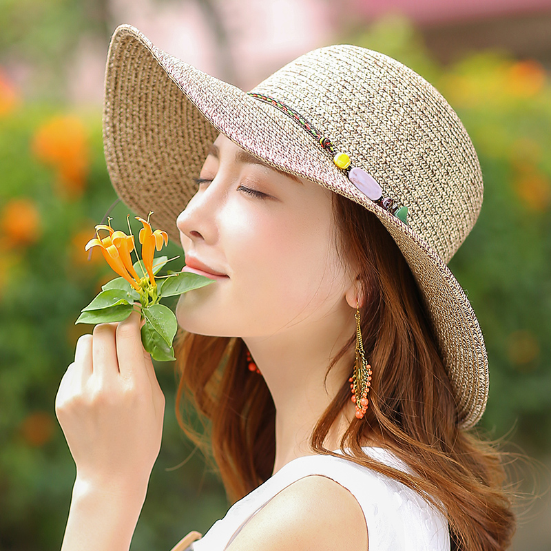 Top Sale Straw Hats For Female Travel Wild Fashion Anti-Ultraviolet Sun Hats Cool Design Holiday Big Eave Caps For Womens