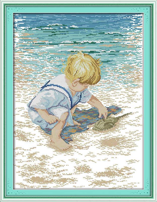 The little boy on the beach cross stitch kit child Aida count 18 14ct 11ct print embroidery DIY handmade needlework