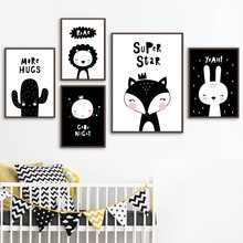 7fe88cf3e Black White Cartoon Fox Lion Rabbit Cactus Wall Art Canvas Painting Nordic  Posters And Prints Wall