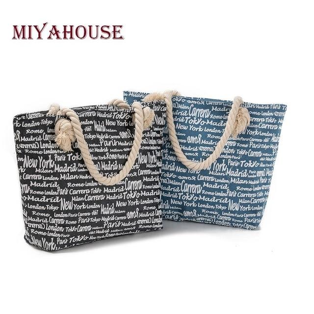 Miyahouse Casual Letters Printed Beach Bag Women Jean Denim Design Summer  Handbag Lady High Quality Tote 07f356ab623c
